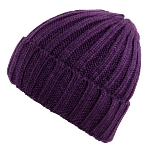 Unisex Chunky Ribbed Knit Beanie Hat Faux Fur Bobble Pom Pom in Various Colours