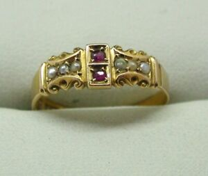 Beautiful-Edwardian-15-Carat-Gold-Ruby-And-Pearl-Ring-Size-Q-1-2