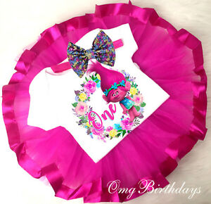 b21fe82b9cd Trolls Poppy Pink Tutu Shirt Headband 1st Baby First Birthday Girl ...