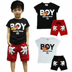Kids-Baby-Boys-Mickey-Mouse-T-shirt-Tops-Shorts-Pants-Summer-Clothes-Outfits-Set