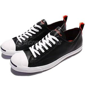 Converse Jack Purcell LP Low Pro Leather Black Red Men Classic Shoes 156385C