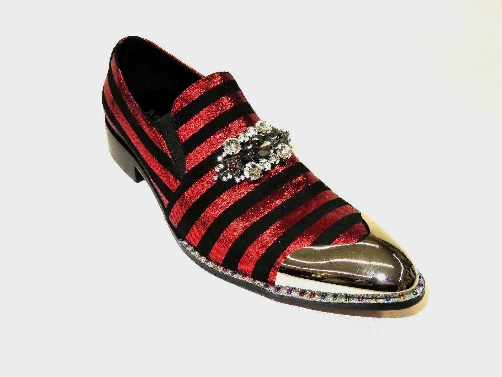 Zapatos para hombre Fiesso de vestir etapa Fiesso hombre Aurelio Garcia metálica en raya FI7015 Negro Rojo 449022