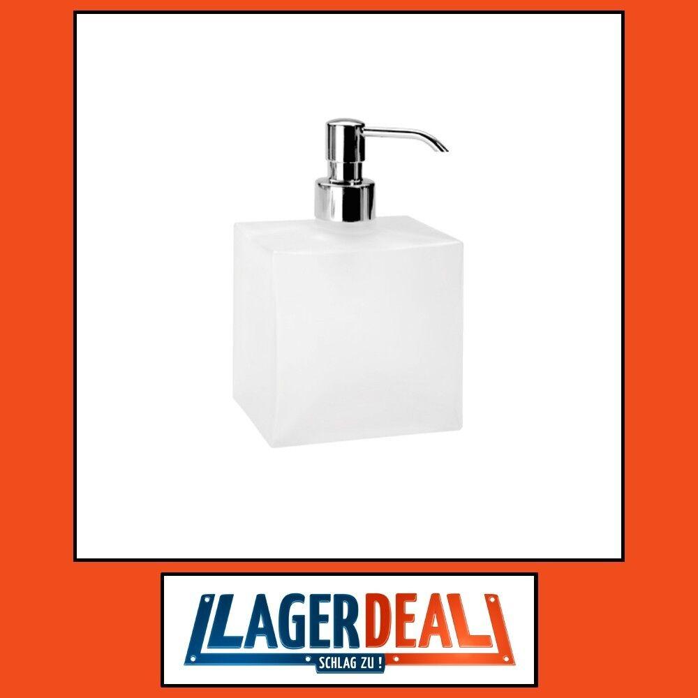 Glasseifenspender 105x170x70mm Messing   Milchglas Chrom Badartikel Bad Zubehör     | Lass unsere Waren in die Welt gehen
