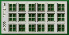Proses W-005 NEW 18 PCS 11X12MM 4 PANE LASER CUT WINDOWS HO/OO