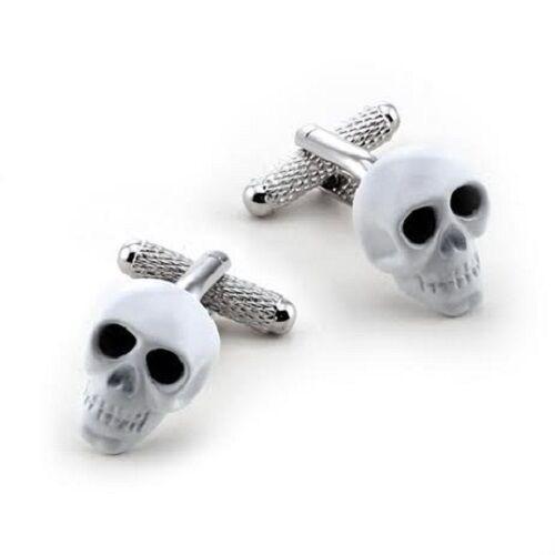 Onyx-Art London CK903 White Skull Black Crystal Eyes Cufflinks in Gift Box