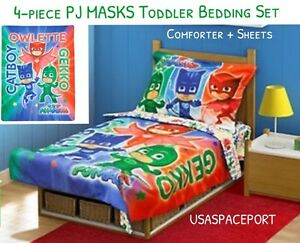 4-piece PJ MASKS Toddler Bed COMFORTER + SHEETS SET Boys/Girls Crib Cot Sheet