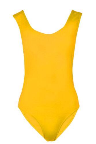 Womens Low Dip Back Backless Side Cutout Scoop Neck Ladies Bodysuit Leotard Top