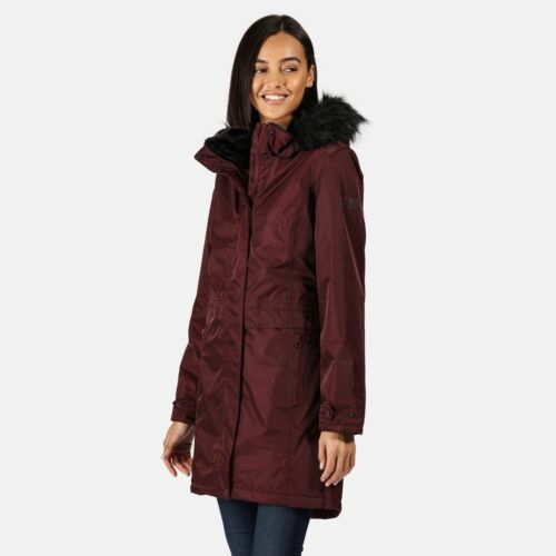 Dark Red Regatta Womens Lexis Waterproof Insulated Fur Trim Hood Parka Jacket