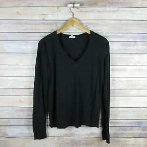 AG-ADRIANO-GOLDSCMIED-Women-039-s-Linen-V-Neck-Long-Sleeve-Top-S-Small-Black