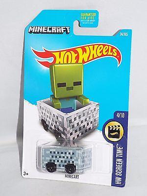 Hot Wheels 2017 HW Screen Time Series Minecraft #24 Minecart Grey