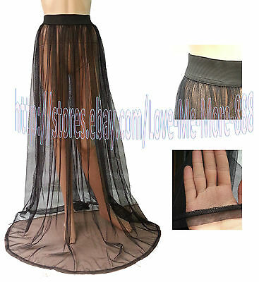 Sexy WOMENS Mesh Sheer Sun Beach Club Party Long Maxi Skirt Dress S,M,L,1XL,2XL