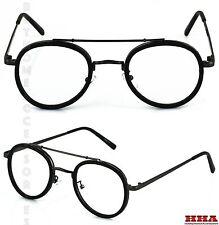 Men's or Women CLASSIC VINTAGE LENNON Style Clear Lens EYE GLASSES Black Frame