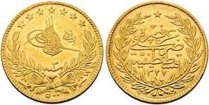 TURKEY-OTTOMAN-GOLD-500-PIASTRES-SULTAN-MOHAMED-V-1327-3-RA-XX-RARE
