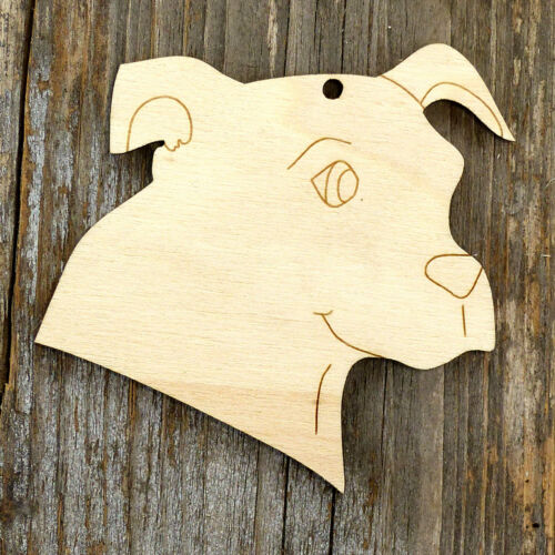 10x Wooden Dog Staffie Terrier Head Shape Craft Shapes 3mm Plywood Pets Animals