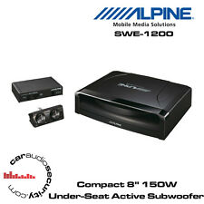 "Alpine SWE-1200 - 8"" (20cm) Powered Subwoofer Shallow Enclosure 150W Bass Remote"