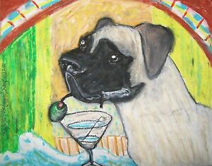 BULLMASTIFF-Drinking-a-Martini-Dog-Art-Print-Collectible-8x10-Signed-by-Artist