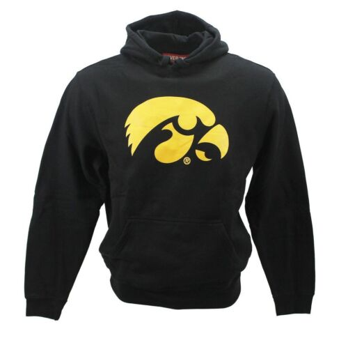 Cover One Men/'s Iowa Hawkeyes Logo Style Hoodie Black