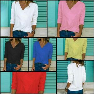 T-Shirt-Jumper-Tops-Casual-V-Neck-Long-Sleeve-Solid-Womens-Pullover-Loose