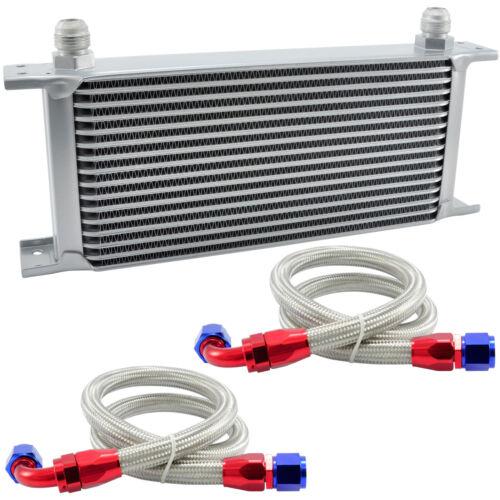 Ölkühler 16 Reihen AN10 Anschluss Set Universal Zusatz Kühlung Extern Oil Cooler