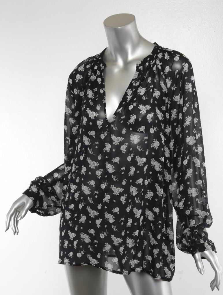 VINCE damen Dark-Blau + Weiß Floral-Print Long-Sleeve V-Neck Blouse Top L
