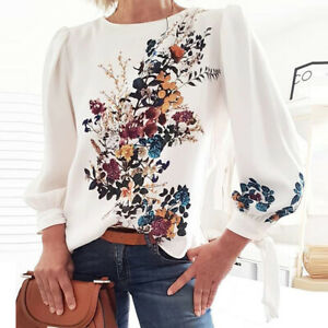Women Autumn Casual Long Sleeve Floral Printed Tops Blouse Long Shirt Pullovers
