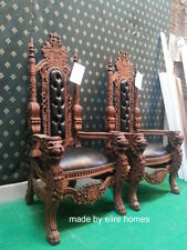 Lion King Throne Chair ~ Antique Mahogany / Dark wood tone with faux leather