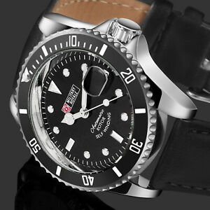 Military-Royale-Mens-Watch-Automatic-Silver-Case-Black-Leather-Strap-Date-Army