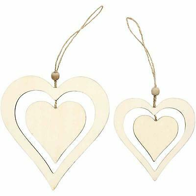 2 Wooden Double Heart 16cm & 12cm Hanging Decoration Plain Personalised Craft