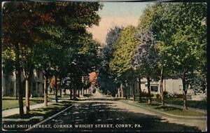 CORRY-PA-East-Smith-Street-Corner-of-Wright-Antique-Town-View-Postcard-Old-Vtg