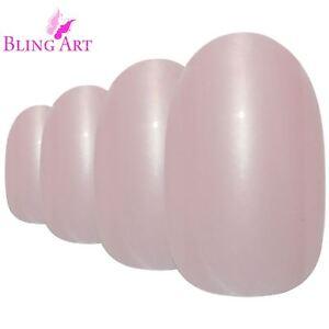 False-Nails-Pink-Glitter-Oval-Medium-Bling-Art-Fake-Acrylic-24-Tips-2g-Glue