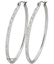 """2.1"""" Pave Set Crystal Cz OVAL Shiny Silver Stainless Steel Hoop Dangle Earrings"""