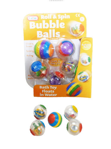 Pack Of 5 Babies Roll /& Spin Activity Bath Toy Bubble Balls From Newborn