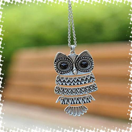 Fashion Crystal Green Eye Owl Vintage Necklace Charm Pendant Long Chain