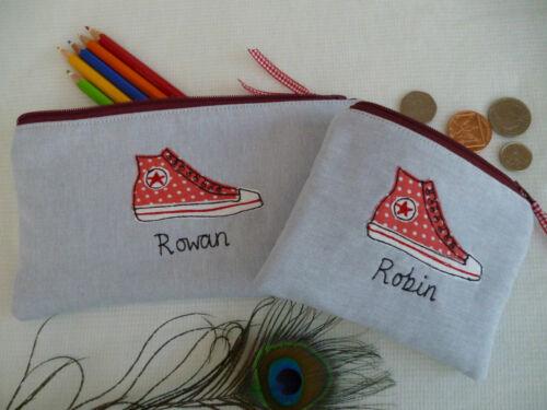 wallet o matita caso grigio o rosa Word Choice Personalizzata Baseball Stivali purse
