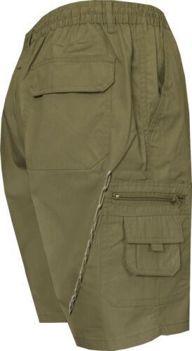 8XL Mens Elasticated Waist Cargo Combat Plain Shorts 6 Pocket Zip Fly Small