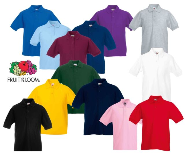Fruit of the Loom childs 65//35 pique polo shirt Burgundy age 14 to 15