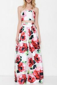 L'ATISTE floral print formal maxi skirt two piece cocktail ...