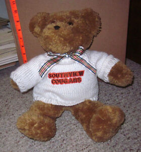 SYLVANIA-SOUTHVIEW-COUGARS-teddy-bear-in-sweater-High-School-Ohio-1994-vtg