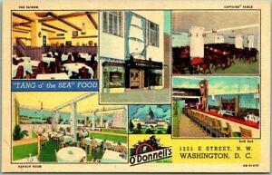 Washington-DC-Postcard-O-039-DONNELL-039-S-RESTAURANT-Seafood-5-Views-Linen-c1940s