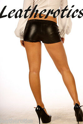 LEATHER SEXY TIGHT FIT SHORTS Knickers pants 501size 6 8 10 12 14 16 18
