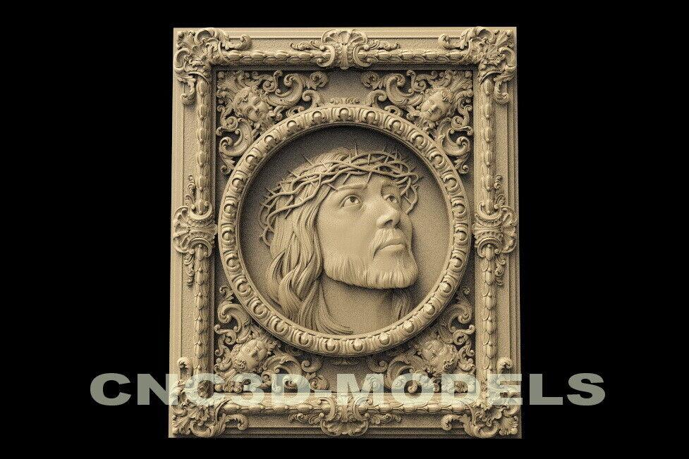 3D STL Model for CNC Router Carving Artcam Aspire Jesus Christ.Frame D130