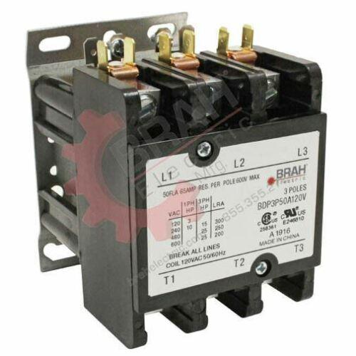 3P BDP3P50A120V BRAH Electric aftermarket contactor  BDP 3PH 50A  120V Coil