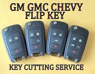 GM GMC CHEVY FLIP KEY KEYLESS REMOTE FOB TRANSMITTER KEY BLADE CUTTING SERVICE