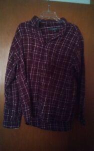 016-Men-039-s-Croft-amp-Barrow-Large-Button-Front-Long-Sleeve-Flannel-Purple-shirt