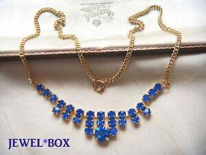 VINTAGE-JEWELLERY-VIVID-SAPPHIRE-BLUE-CRYSTAL-RHINESTONE-NECKLACE