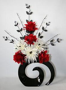 Artificial Silk Flower Arrangement Red Cream Flowers In Large