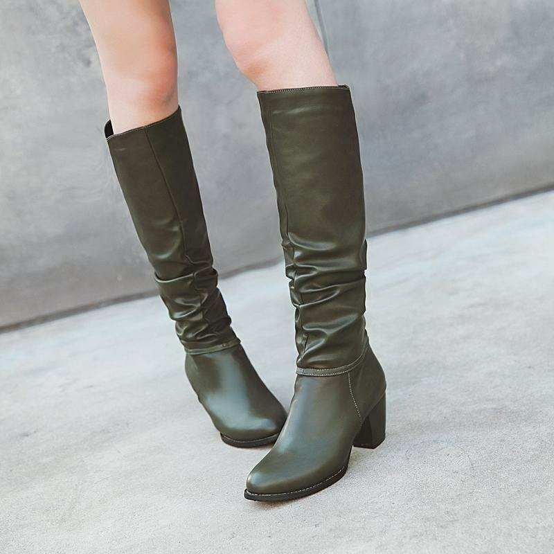 Comfort Womens Pleated Med Heels Pull On Knee High Riding Boots Military shoes