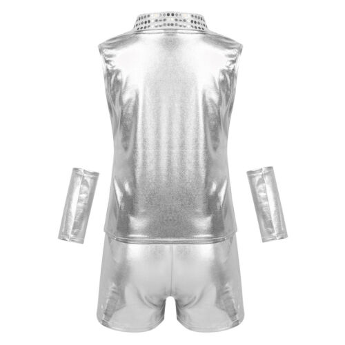 Girls Boys Sequins Jazz Dance Costume Kids Sparkle Hip Hop Street Dance Outfits
