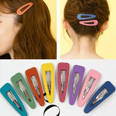 10Pcs//Set Women Frosted Matte Side BB Hair Clip Candy Color Water Drop Barrette