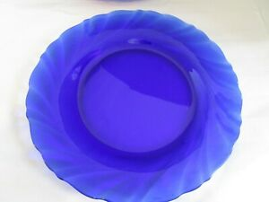 Vintage-Cobalt-Blue-Glass-VERECO-FRANCE-7-5-034-Salad-Plate-EUC